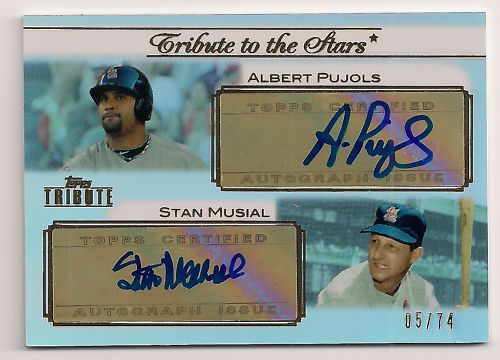 2011 TOPPS TRIBUTE STAN MUSIAL ALBERT PUJOLS AUTO 05/74 DUAL AUTOGRAPH- 5 IS ALBERT PUJOLS JERSEY NUMBER