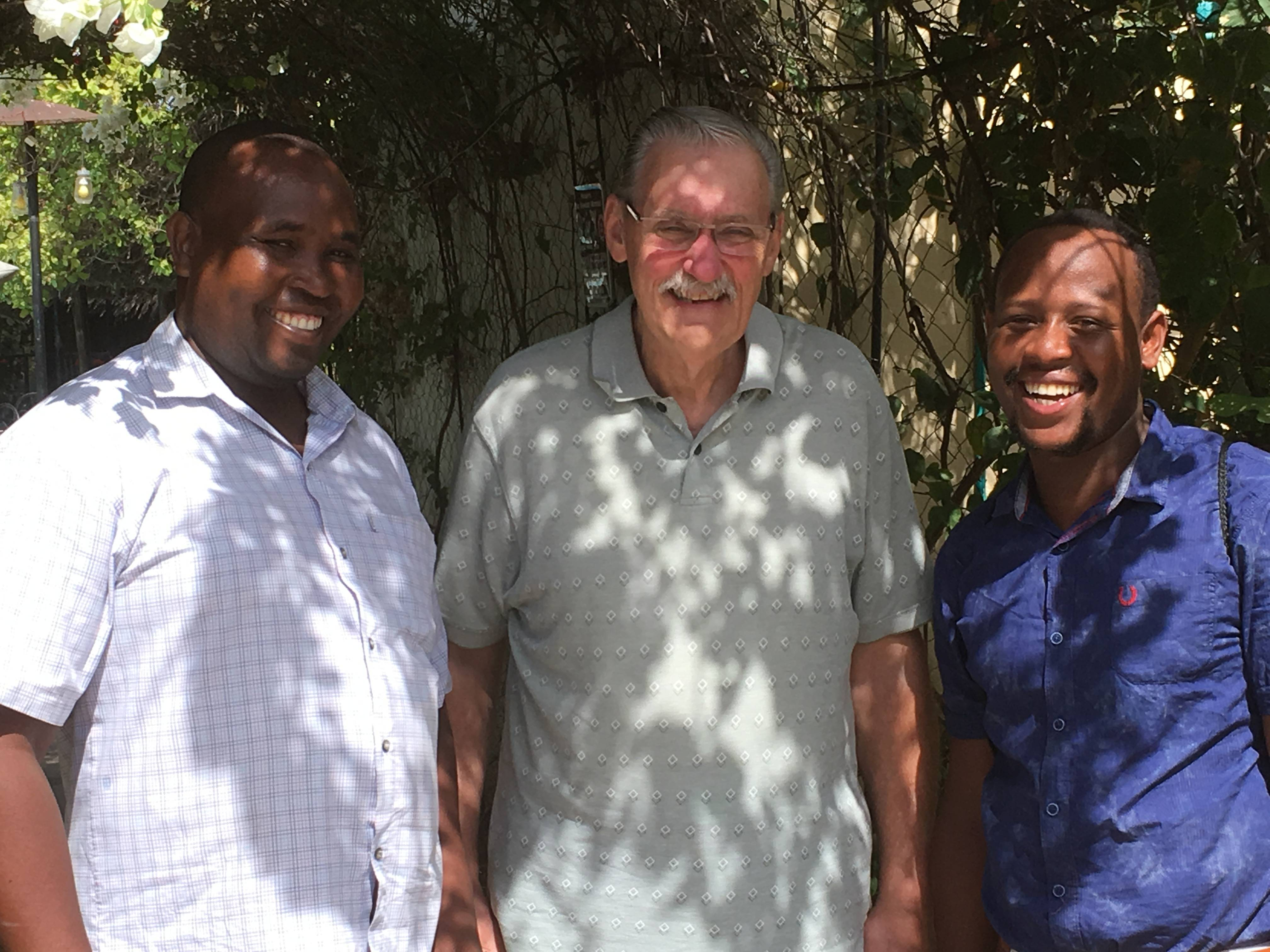 Pastor Victor, Linus and Dennis in Kilifi.