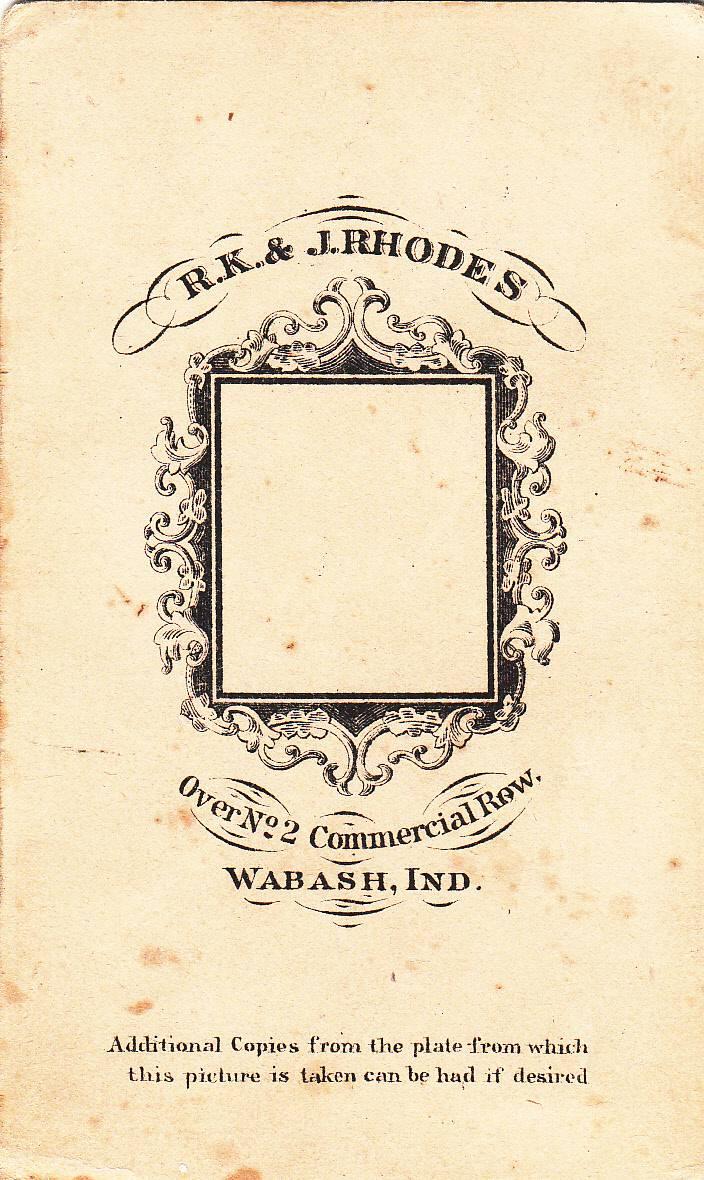 R. K. & J. Rhodes,  photographer of Wabash, IN - back