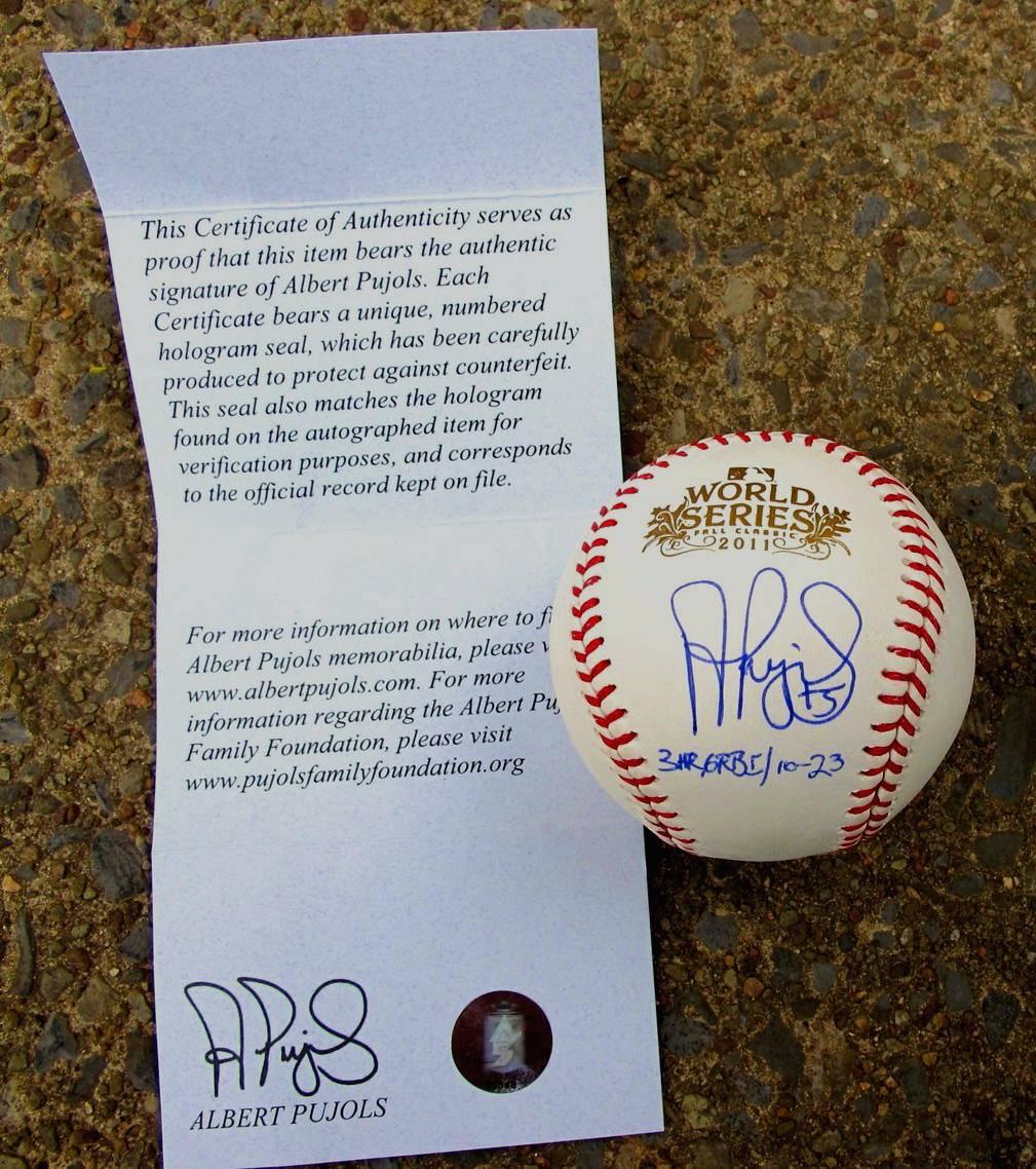 "ALBERT PUJOLS Signed Official 2011 WORLD SERIES ""INSCRIBED"" Baseball PUJOLS MLB"