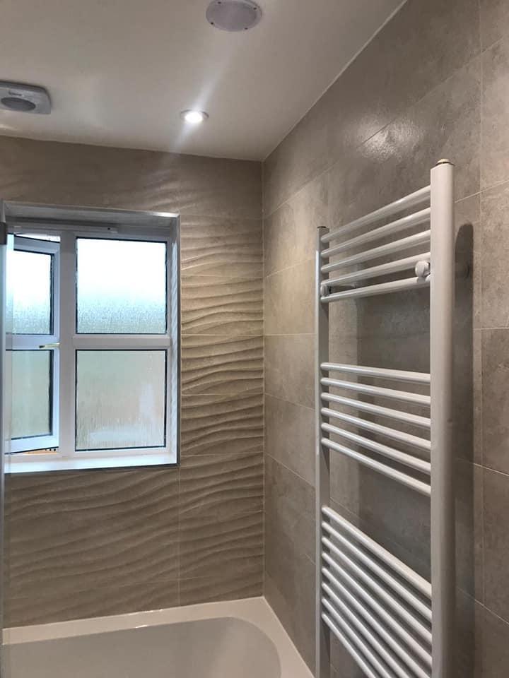 Tiled master bathroom