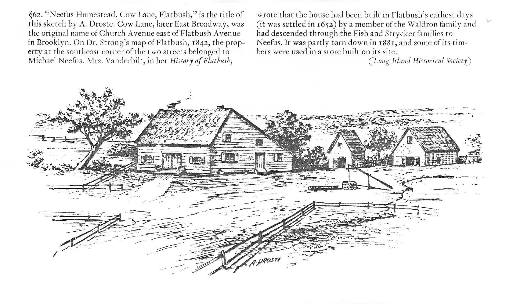 """Neefus Homestead,Cow Lane, Flatbush"""