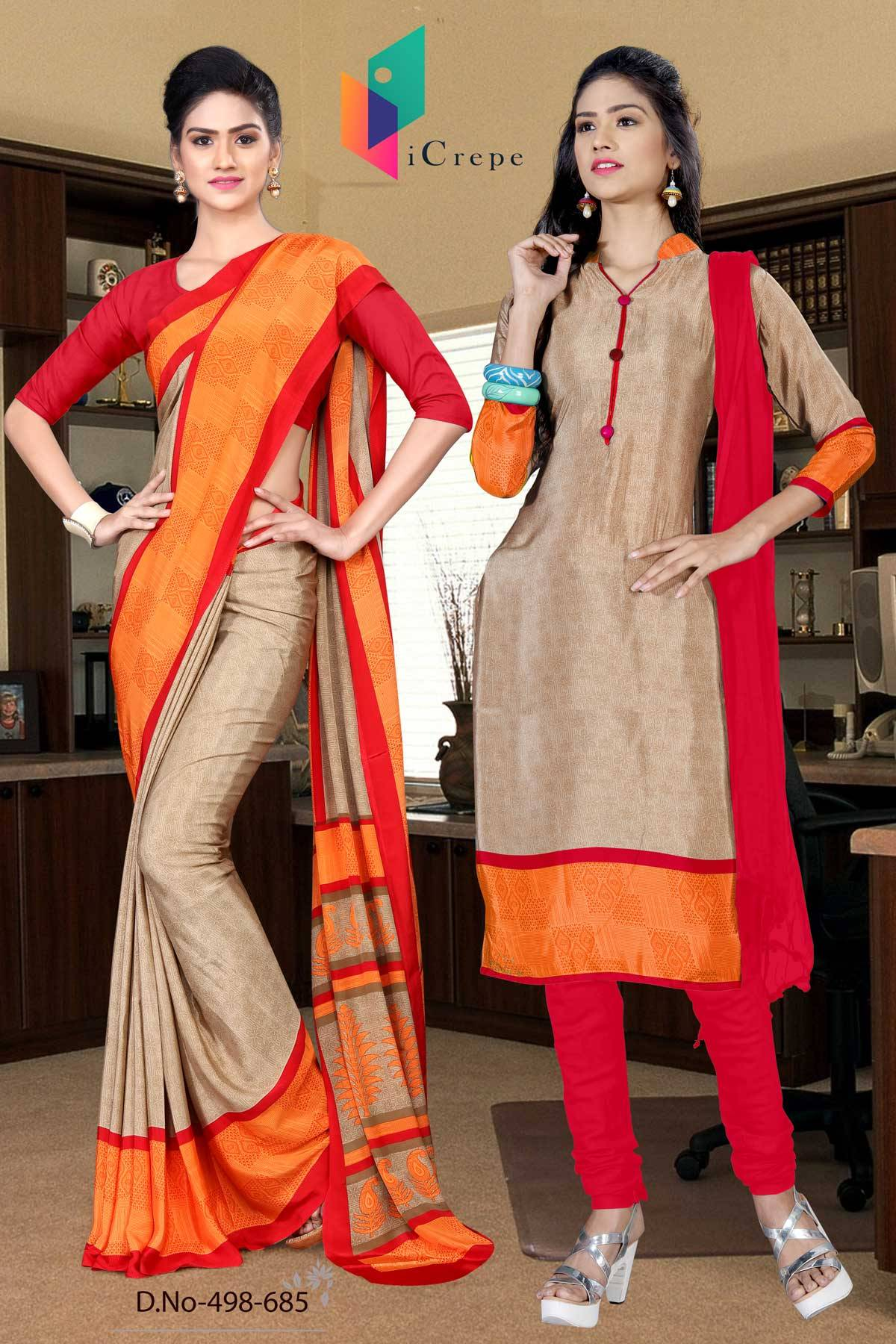 Brown and Red Italian Crepe Silk Uniform Saree and Salwar combo-498-685