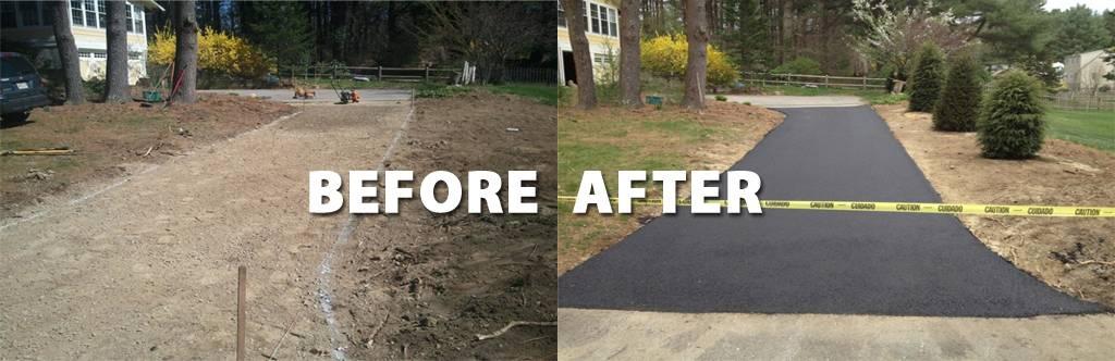 New asphalt driveway installed