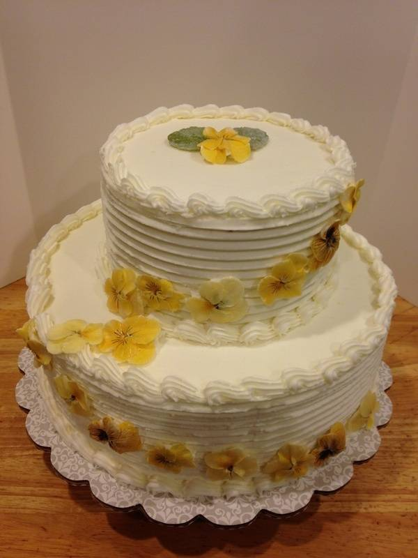 Yellow Edible Flowers Wedding Cake