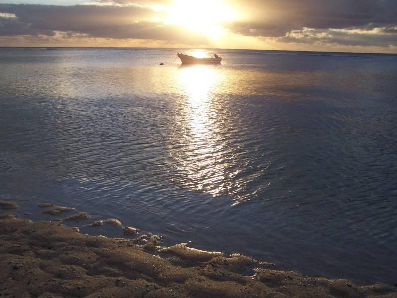 Tonga - Sunset Boat and Cross