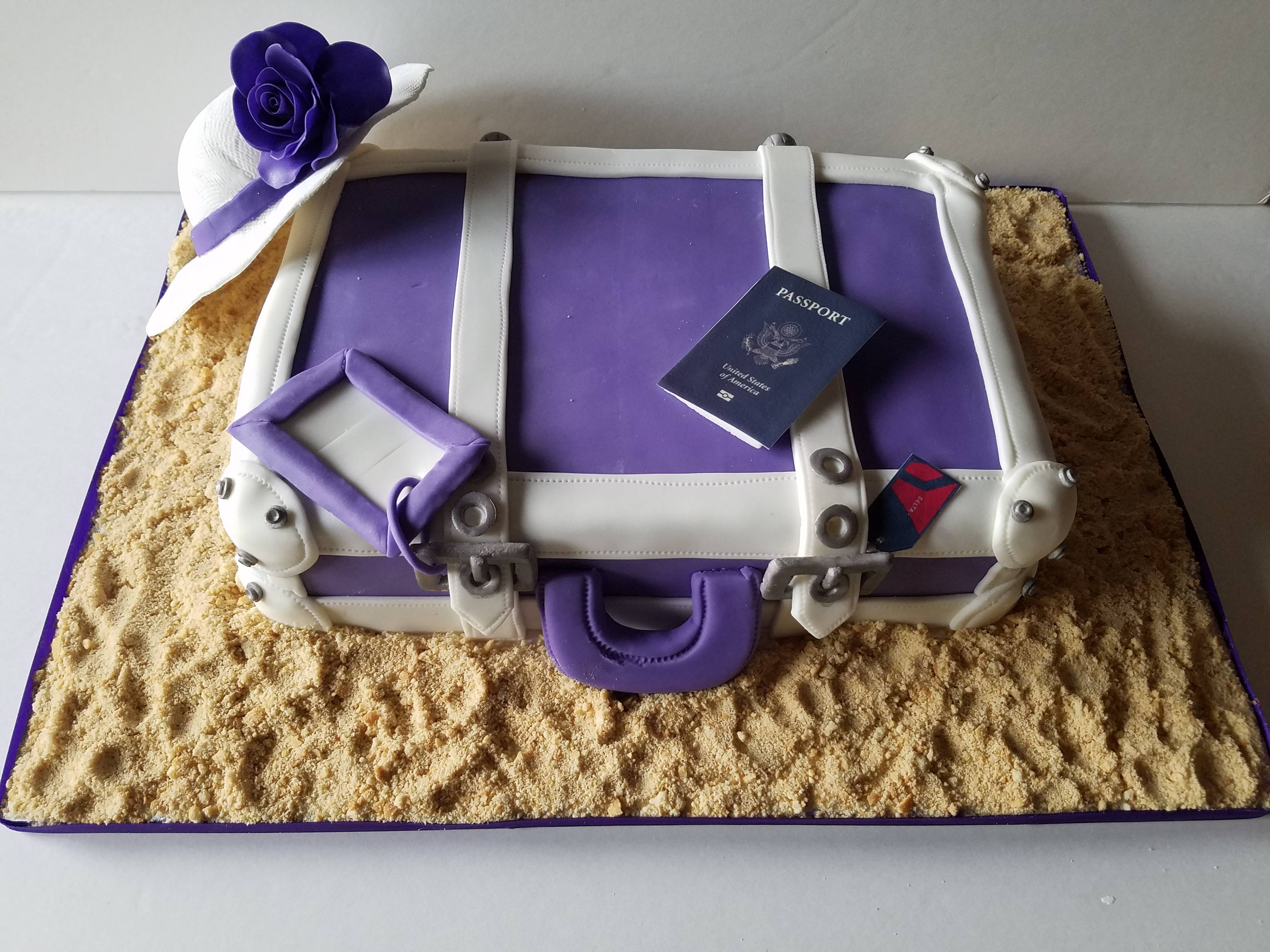 Suitcase cake for the traveler in your life