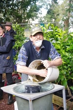 Steve mixing the Tree Paste