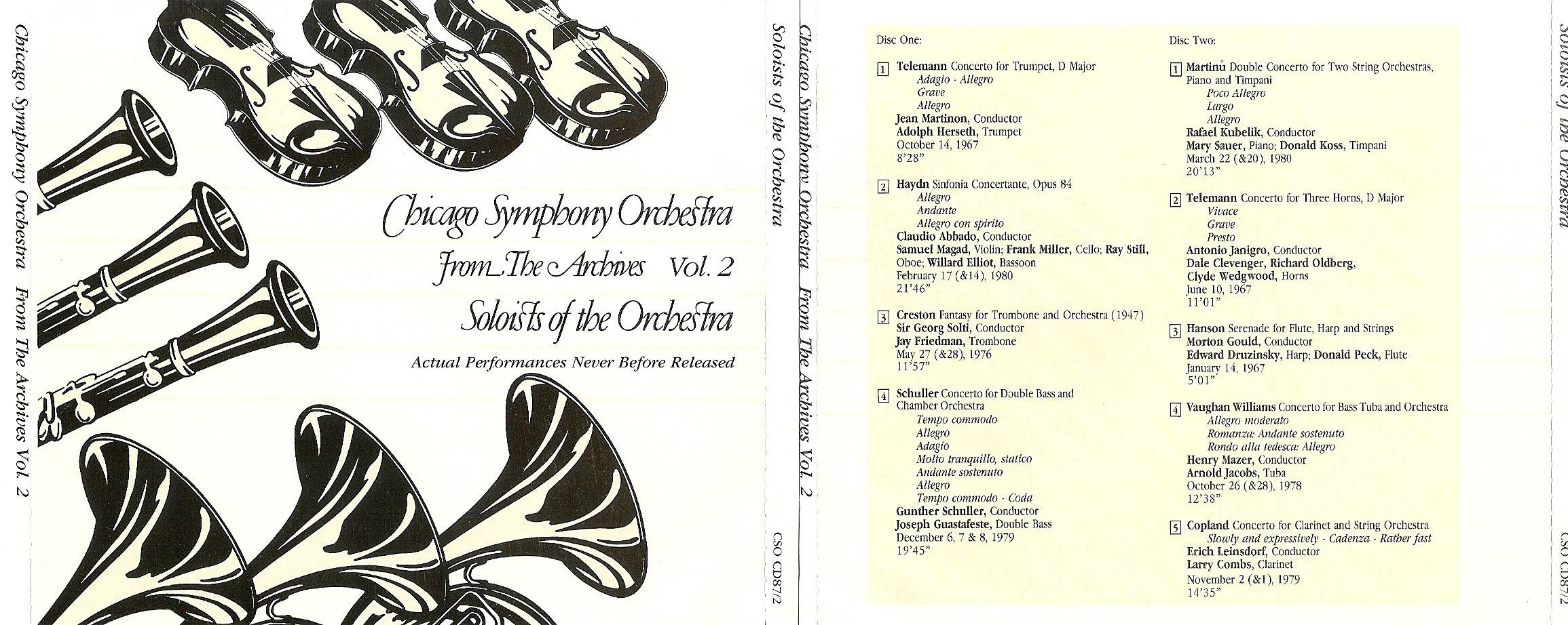 Chicago Symphony Orchestra - From The Archives, Vol.2: Soloists of the Orchestra, 2-CD set (1987)
