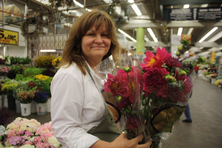 Kathy G in action at the LA Flower Market