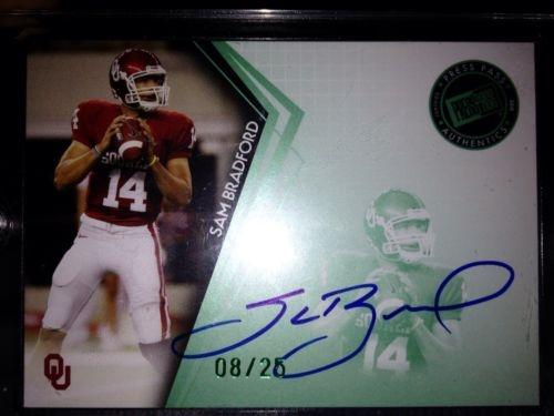 Sam Bradford Auto Rookie Card 8/25 Press Pass Emerald 1/1
