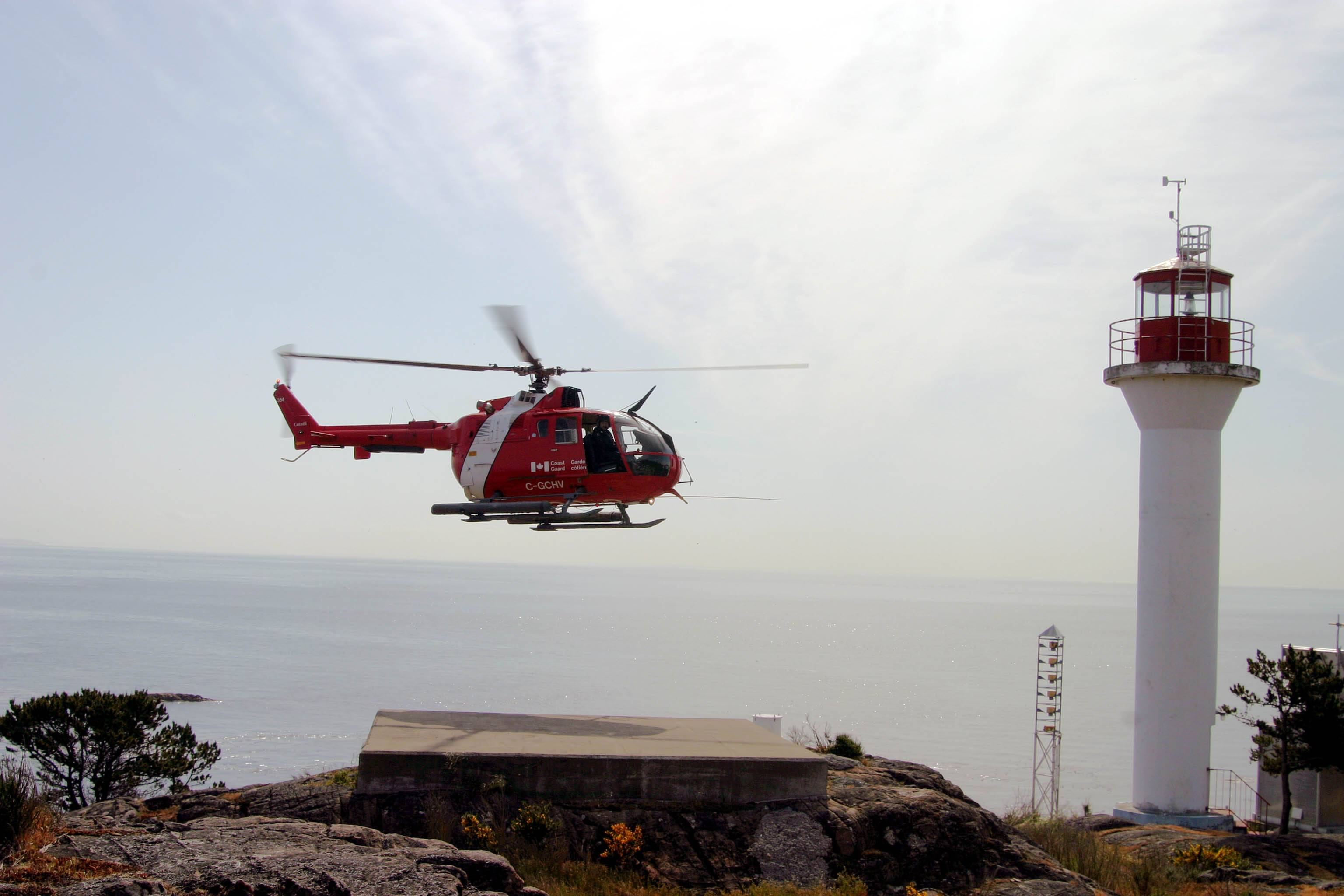 CG. helicopter at the Discovery Island lighthouse.