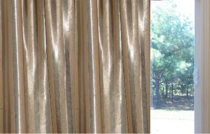 Sateen/ Suede Striped  Pinch Pleat  Patio Thermal 100W X 84L