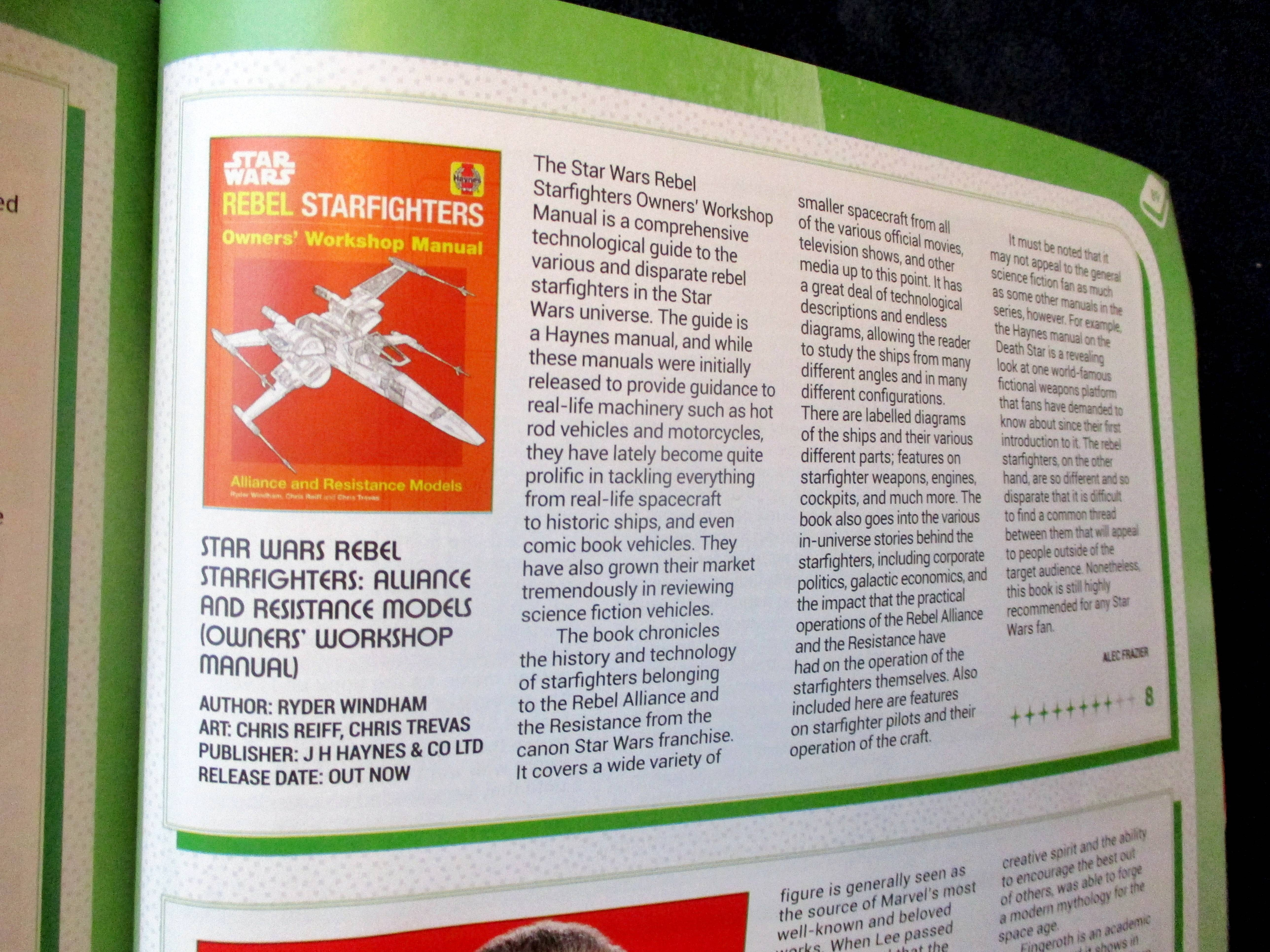 My Review of Star Wars Rebel Starfighters: Alliance and Resistance Models (Owners? Workshop Manual) in Starburst Magazine #468: 2020 Preview Issue Collectors? Edition