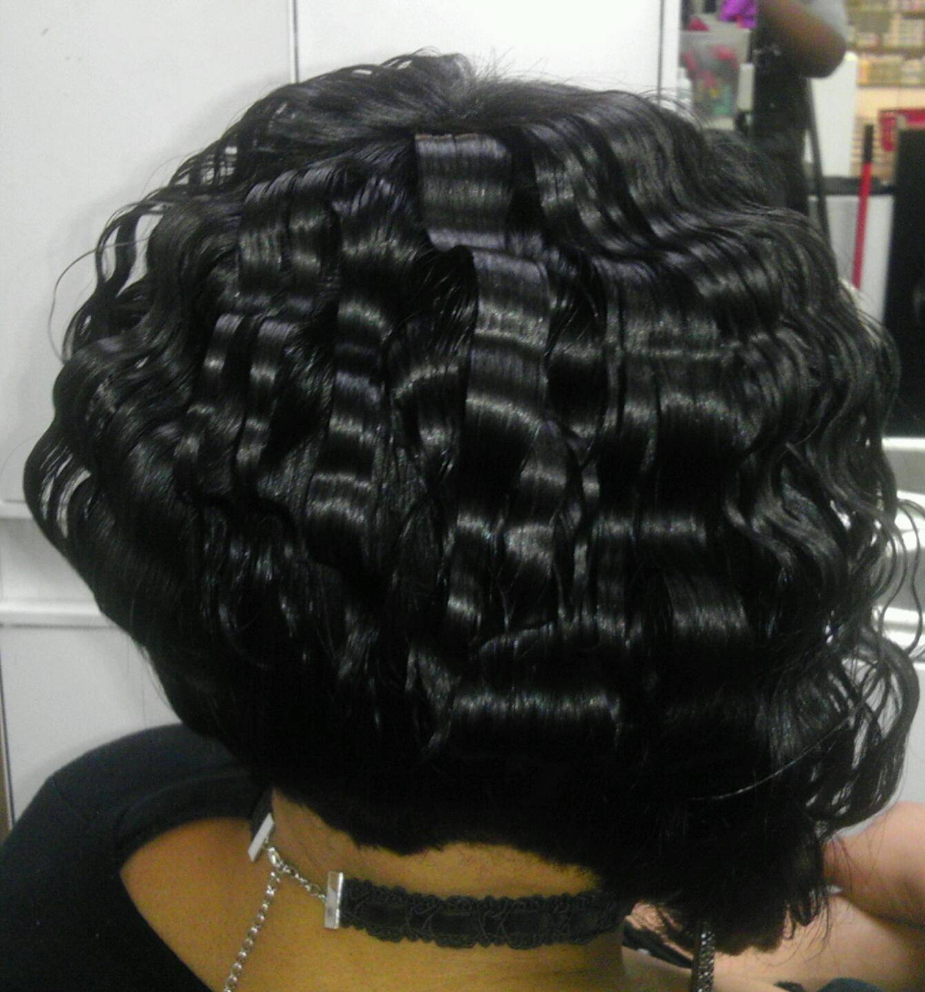 Deep wave, quick weave bob cut