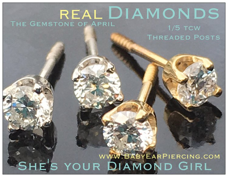 Diamond Ear Piercing at BabyEarPiercing.com