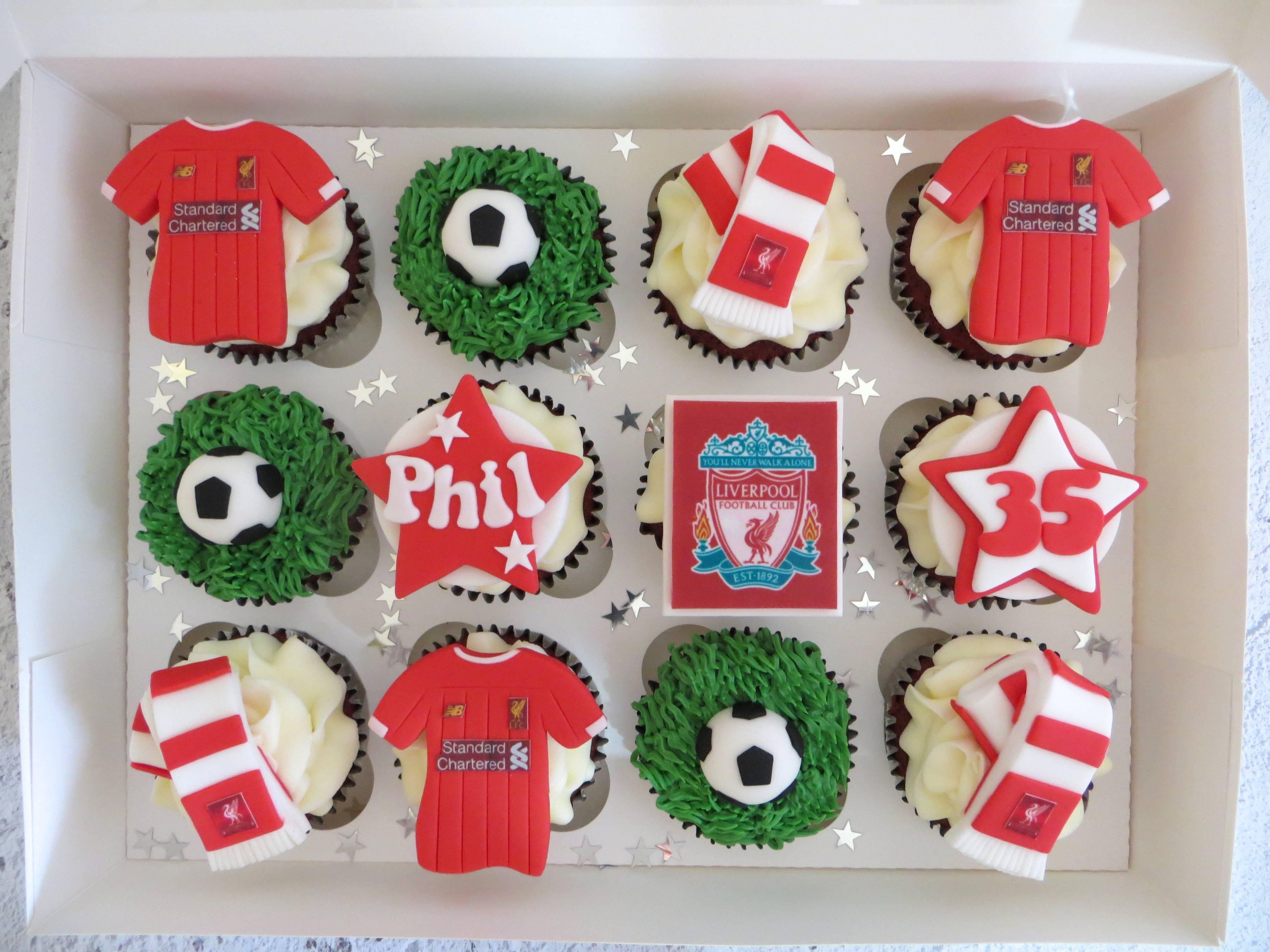 Liverpool Football Birthday Cupcakes