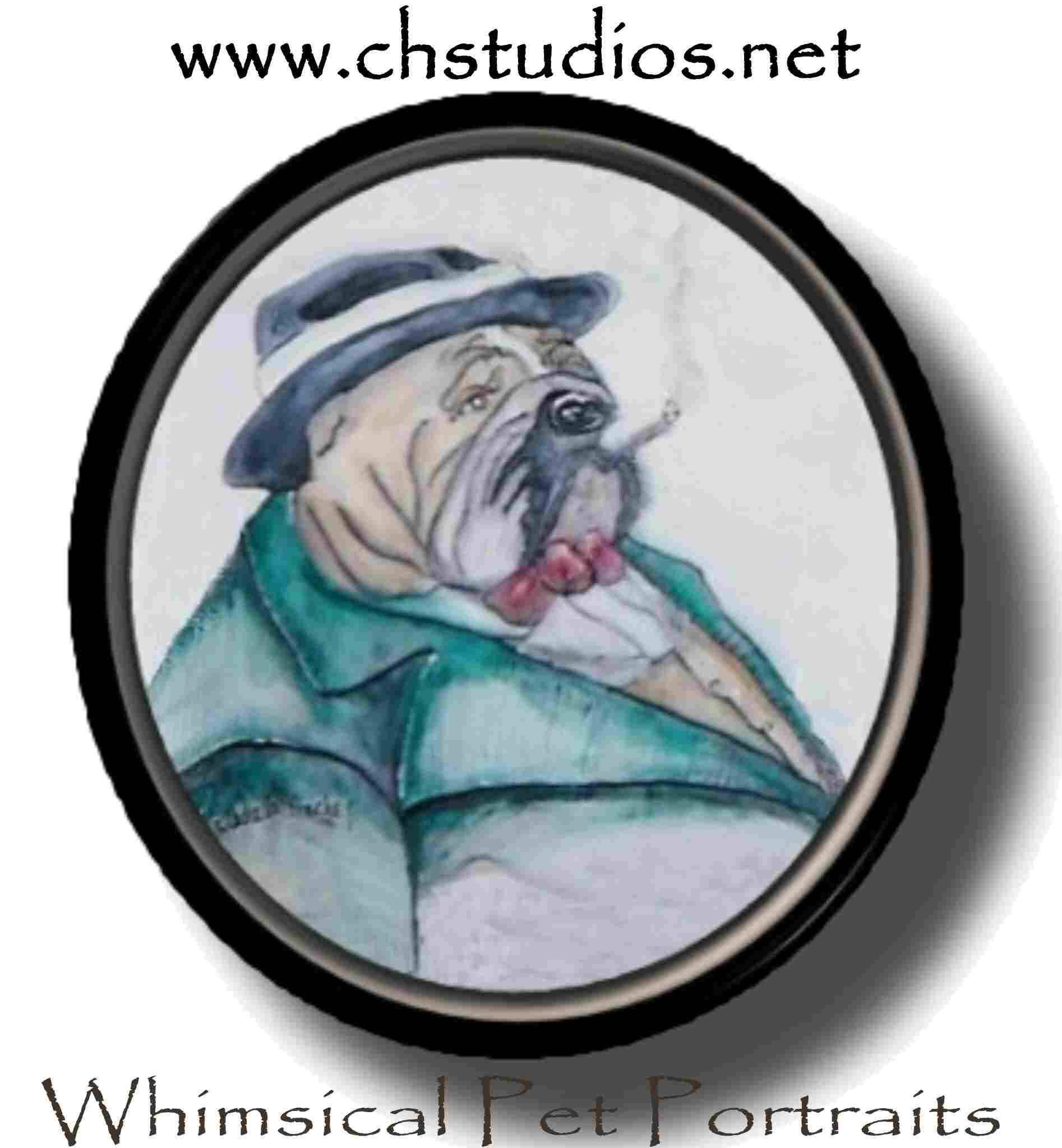 Whimsical Smoking English Bulldog