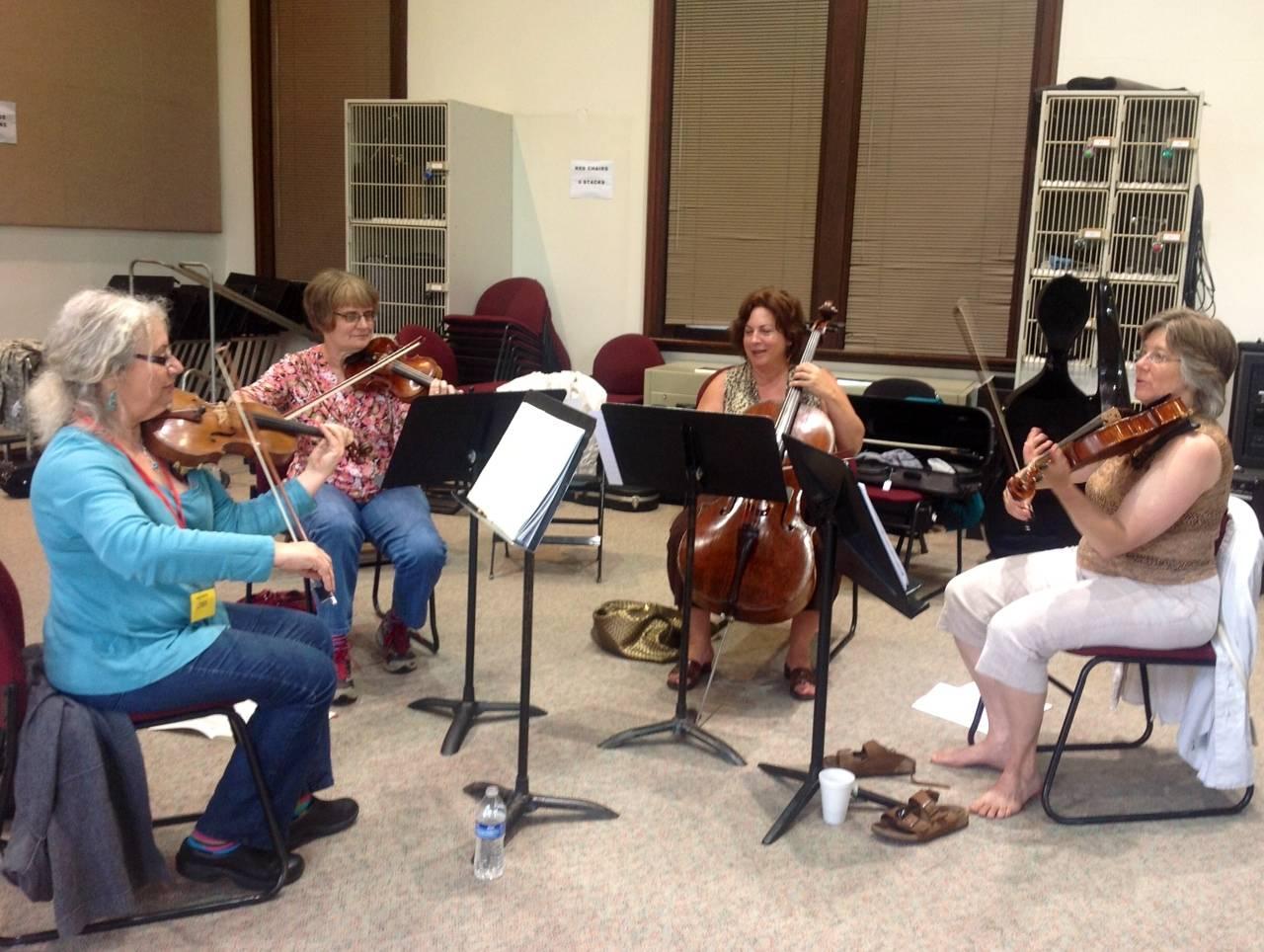 Participants practicing