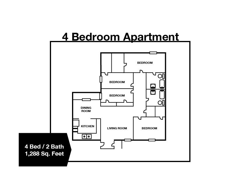 4 Bedroom / 2 Bath Apartment