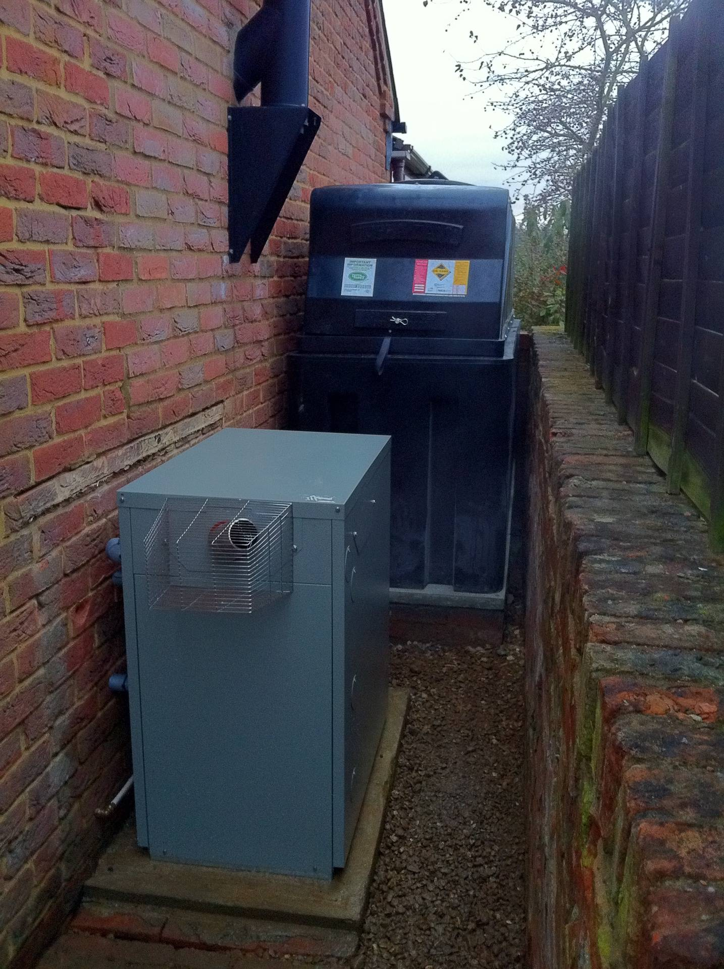 New oil tank and boiler installation