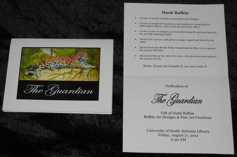 """Brochure for dedication ceremony of """"The Guardian"""""""