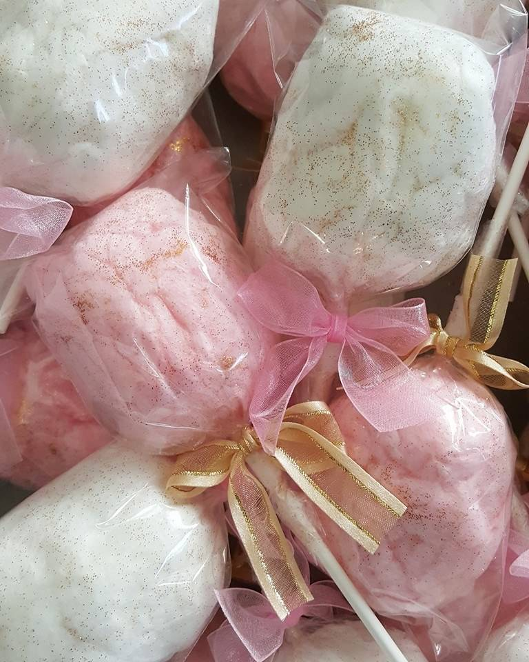 Glitter cotton candy party favors