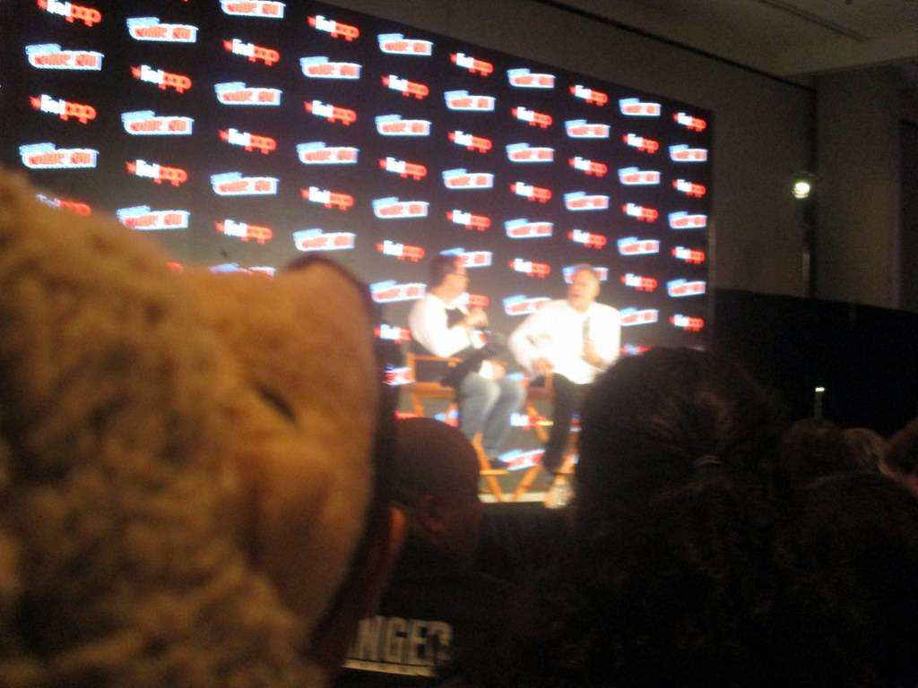 Abby the Hedgehog is spellbound while she watches Joe Quesada interview Vincent D'Onofrio during the Marvel: Cup O'Joe panel!