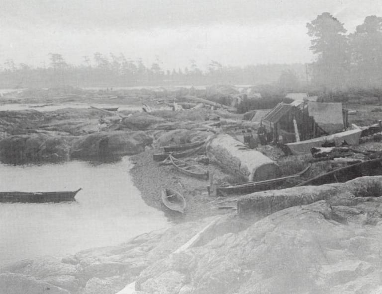 First Nations village on the northwest corner of Discovery Island in 1890.