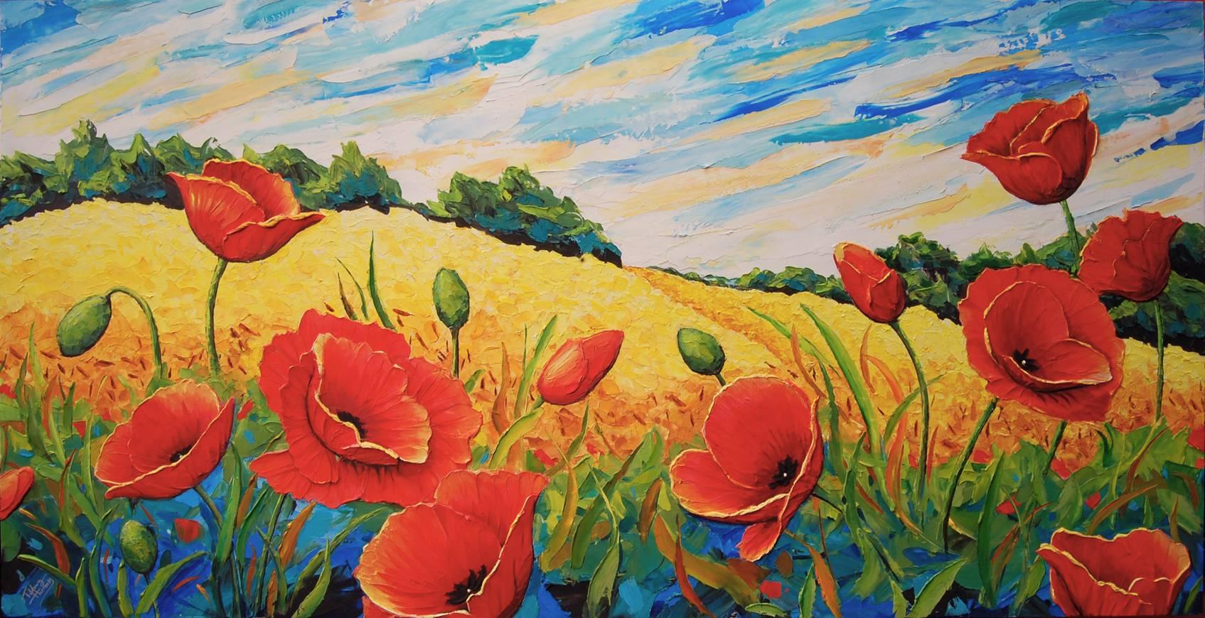 Wheatfield Poppies on summer day.  82 x 42