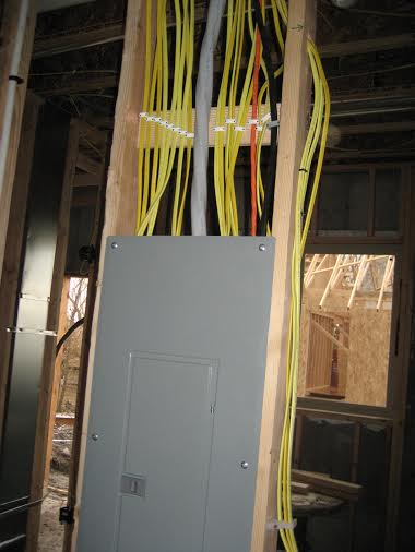 electrical panel and interior exposed wires