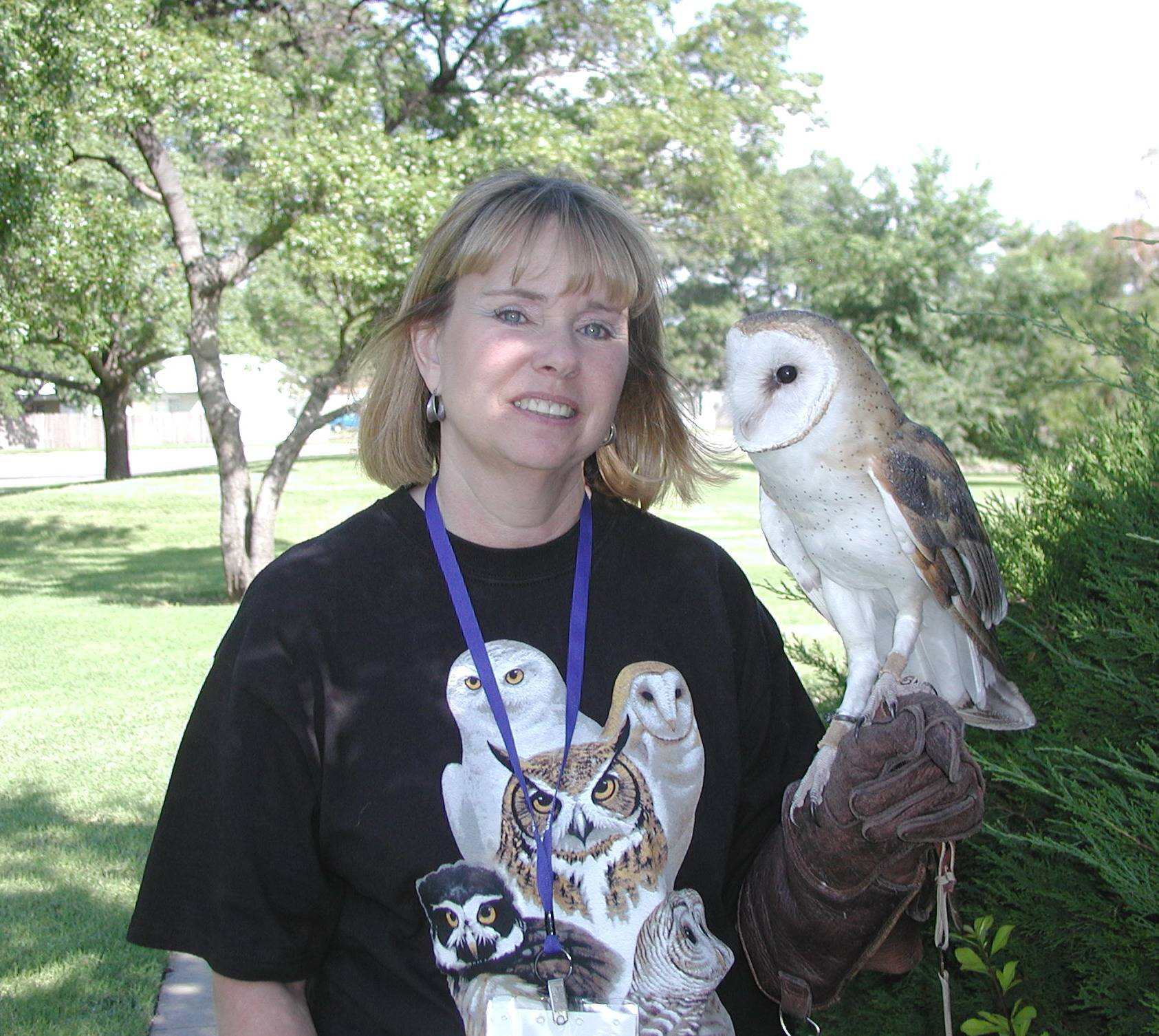 "Volunteer Gail Barnes holds ""Jasper"""