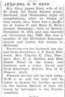 Reed, Mary Agnes Kensinger 1930