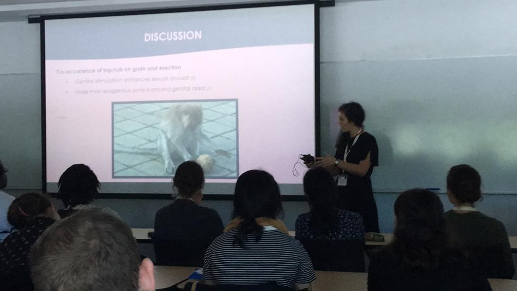 Camilla Cenni giving a talk about her PhD research at the Northeastern Evolutionary Primatology Meeting  (Sept. 2018, Canisius College, Buffalo, NY, USA)