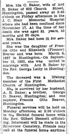 Baker, Ida Beaver