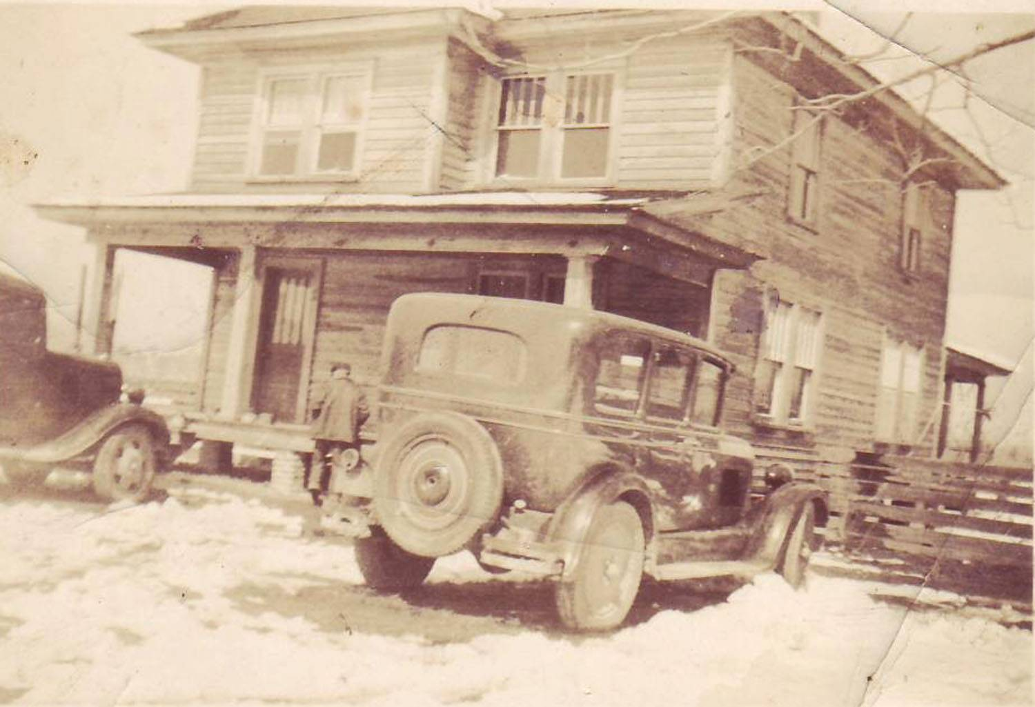 Manning Home 1937 - Charles Aaron Dunn next to car