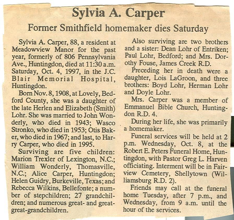 Carper, Sylvia A. Lohr 1997