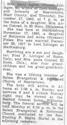 Lininger, Mary A. Fouse 1953