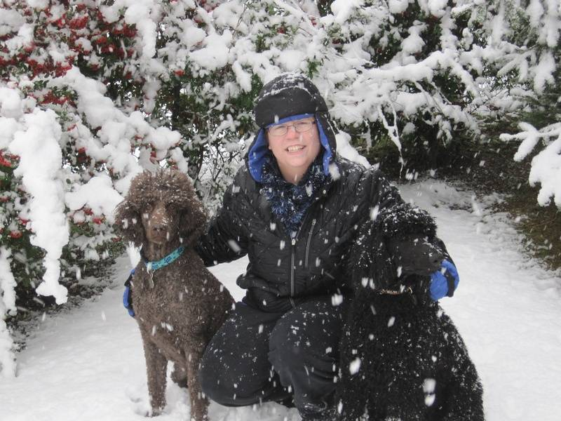 Penny and Pepper in the snow.  12/5/09.