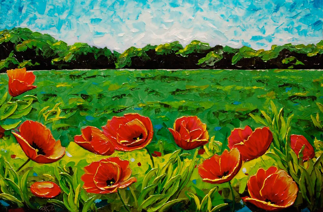 Meadow Poppies.  36 x 24