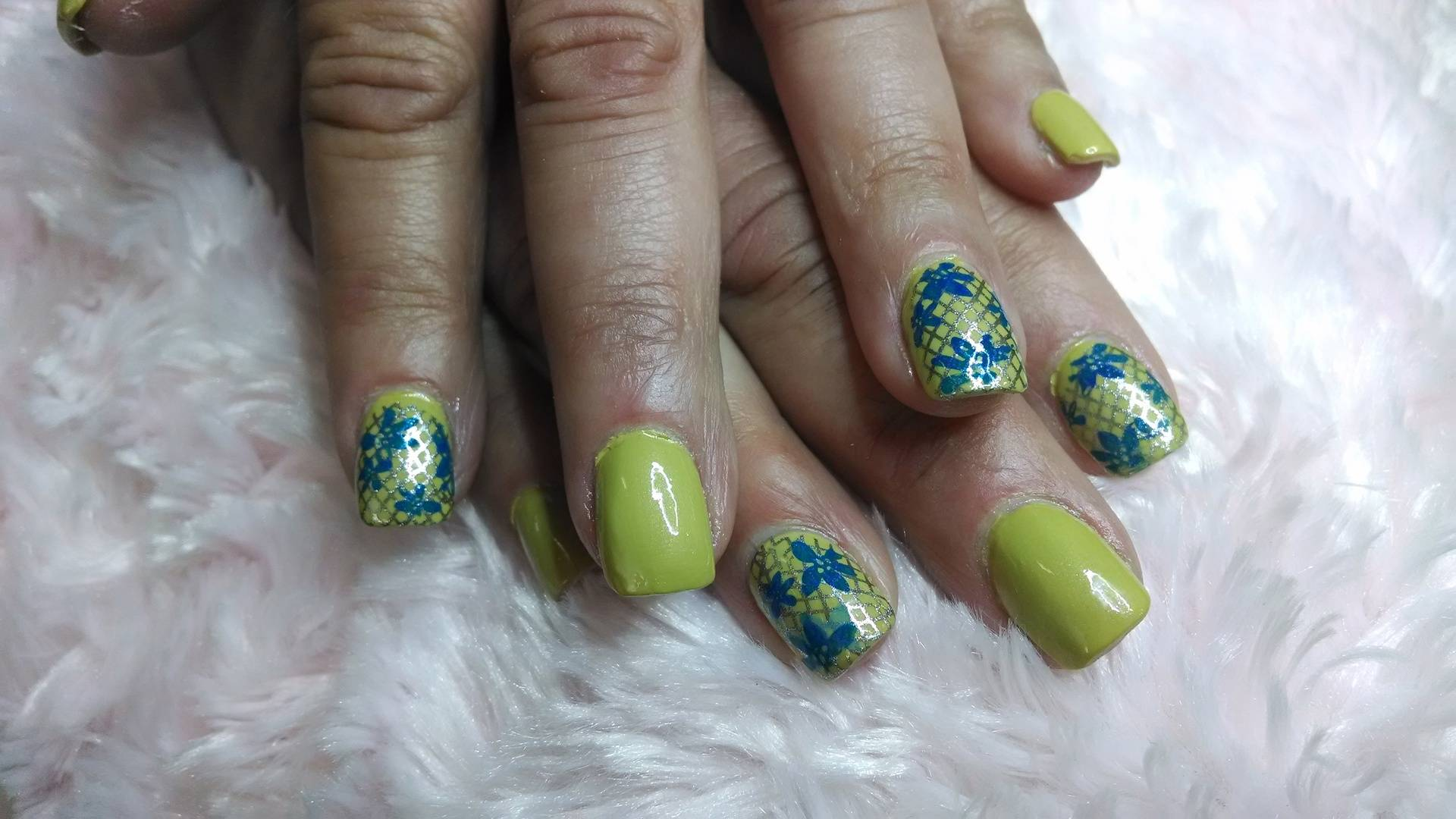 Chartreuse Stamped Nails
