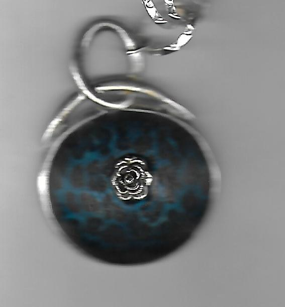 Blue Pendant Victorian Necklace with Silver Rose