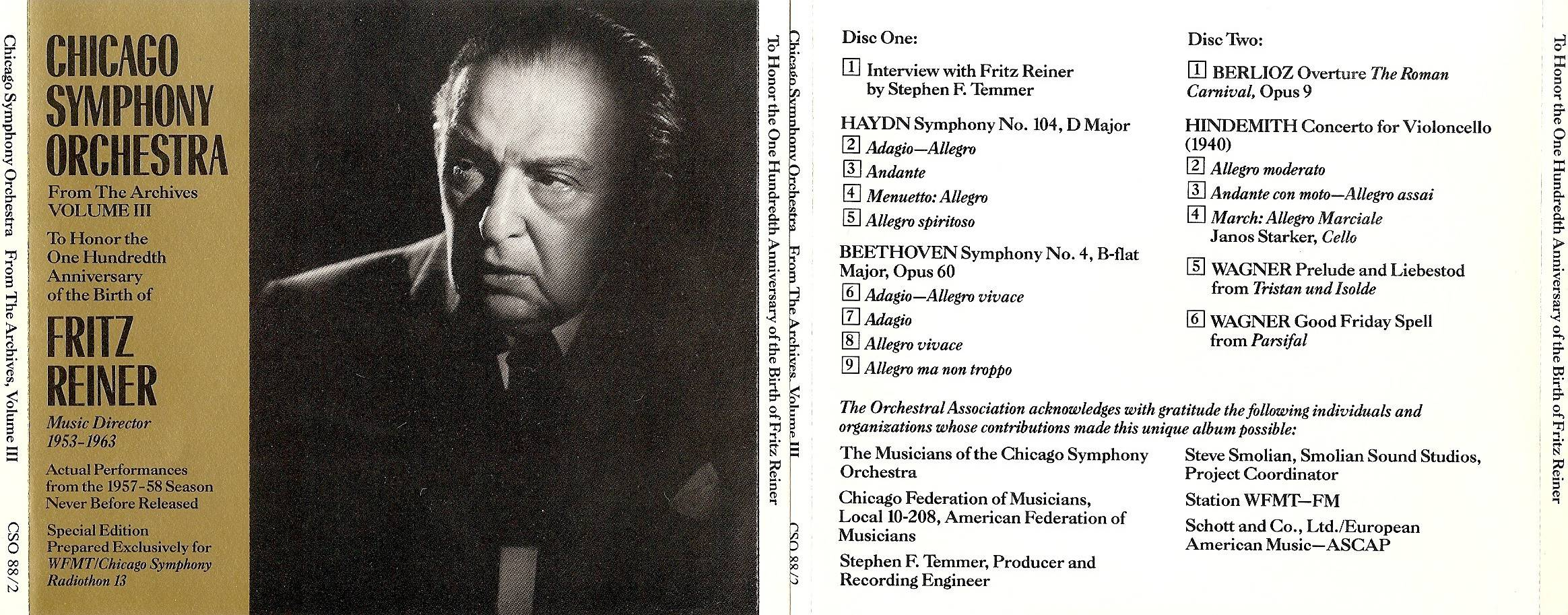 Chicago Symphony Orchestra - From The Archives, Vol.3: To Honor the 100th Birthday of Fritz Reiner, 2-CD set (1988)