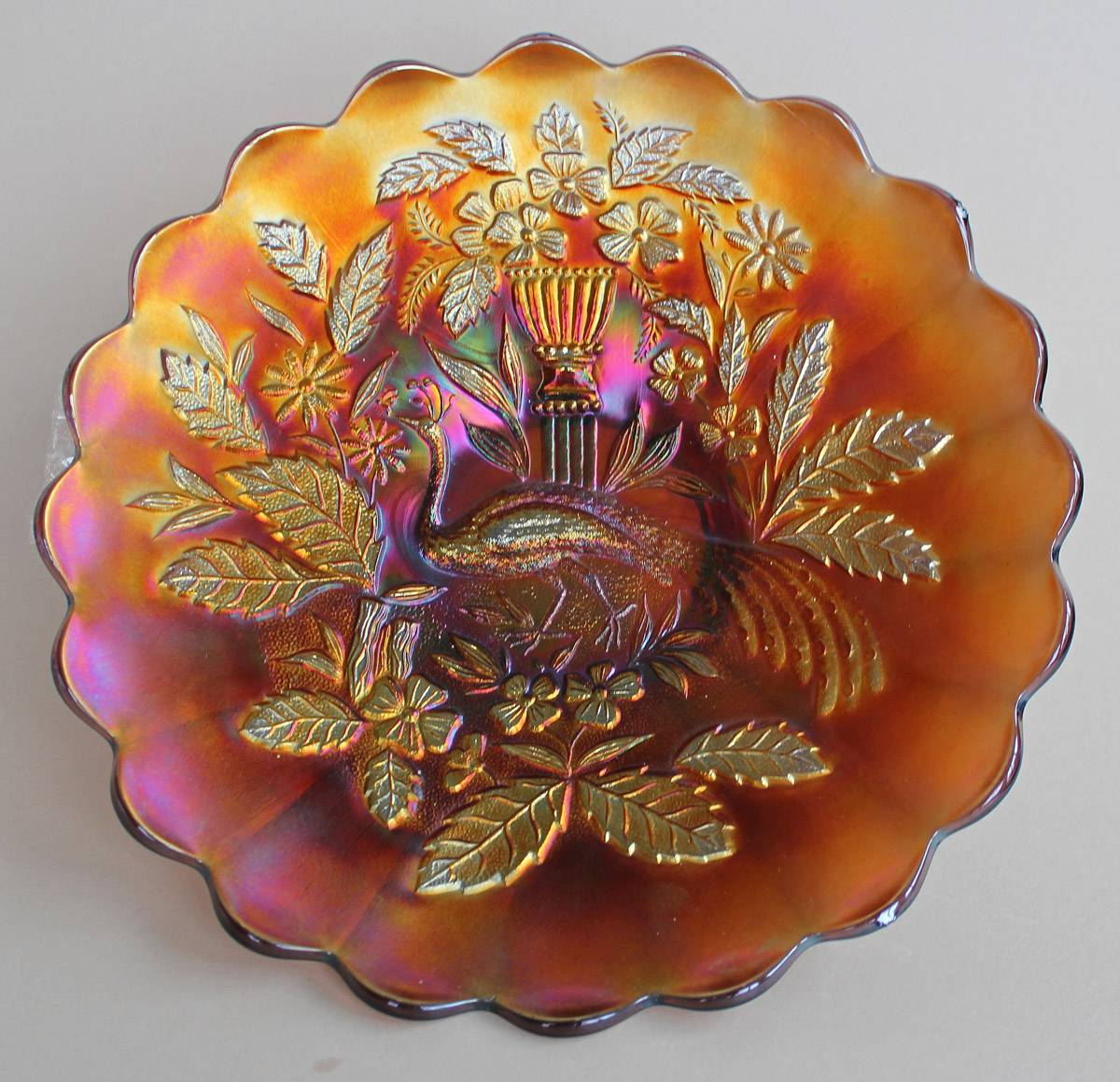 Peacock and Urn large plate, marigold