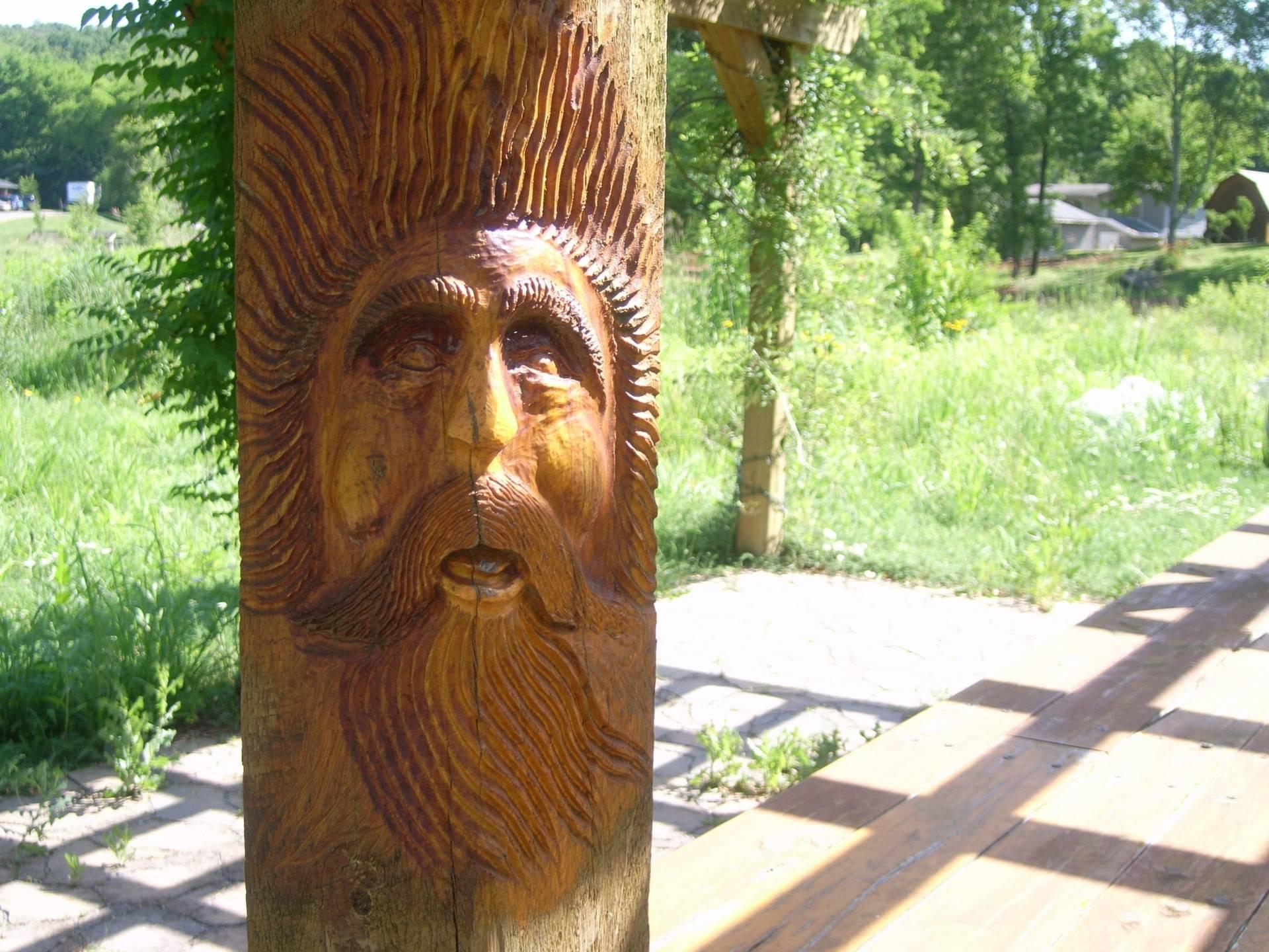 Waldgeist Spirit Carving at the Pergola