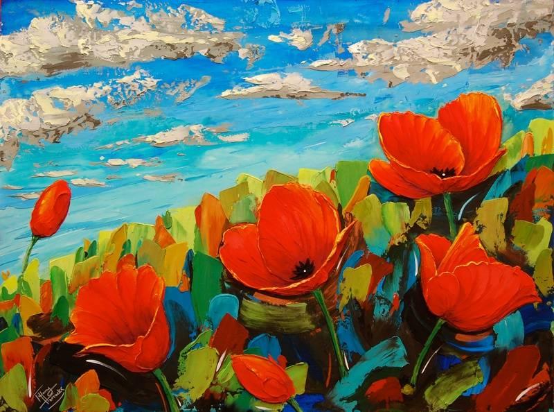 Big summer Poppies.  48 x 36