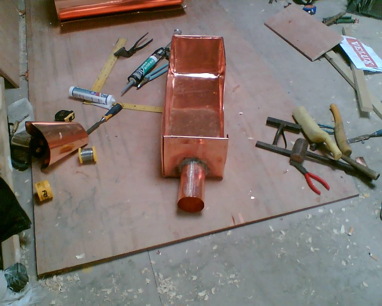 Copper sump box with side outlet