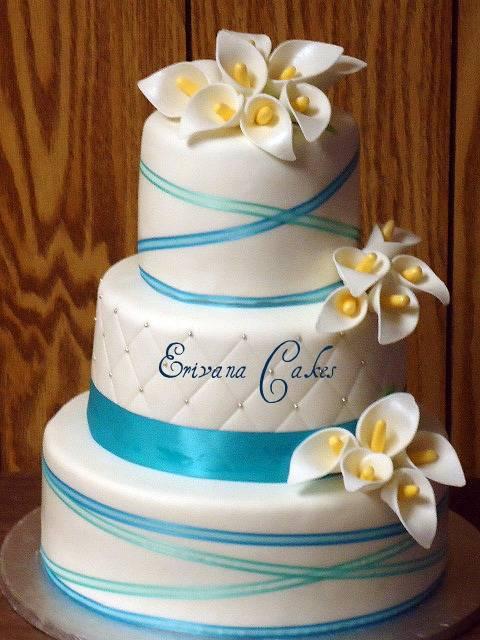 Tiffany Blue Wedding Cake with Calla Lilies (W004)
