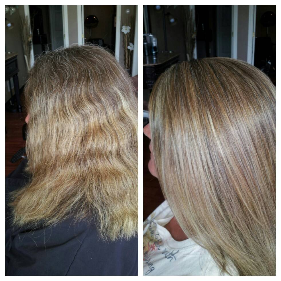 High and lowlights with blowdry