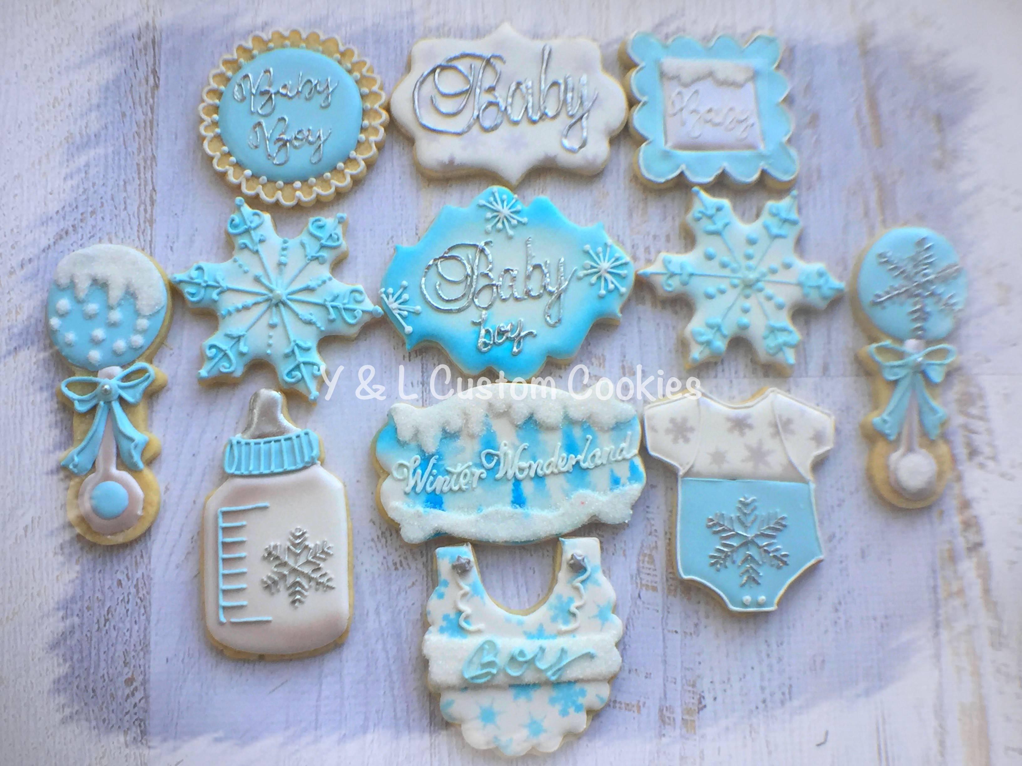 Baby Shower Custom Cookies Winter Wonderland Theme
